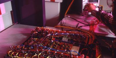 An electronic circuit board.