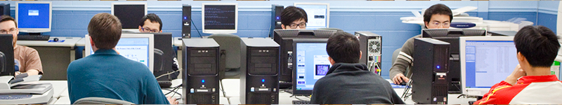 Students working at a computer lab