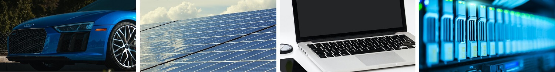 Four images: Electric car, solar panels, processing equipment, laptop.