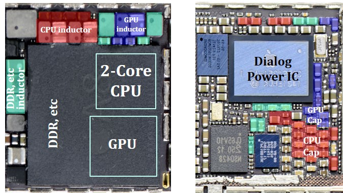 Image of VRMs in mother board of iPhone 6