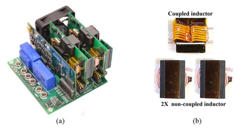 Image of prototype and inductor comparison. (a) Two-phase interleaved buck/boost converter prototype. (b) Comparison of coupled and non-coupled inductor.