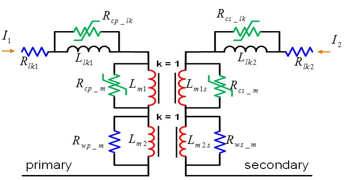 Equivalent circuit of a coupled transformer