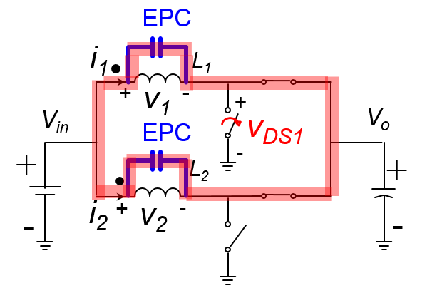 Circuit diagram including equivalent parallel capacitance of a coupled inductor