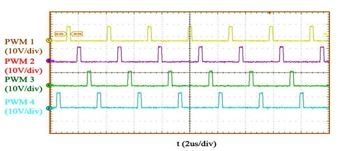 Image of experimental verification for case II: D = 0.1 (V<sub>in</sub> = 12 V, V<sub>o</sub> = 1V): Steady-state waveform