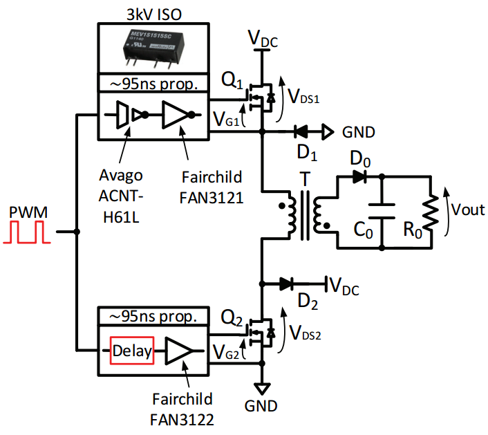 Wire diagram of a flyback converter with two switches and the implemented gate driver