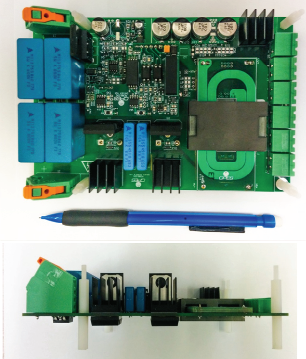 Picture of the completed circuit board both from the side and top. The completed board shows the total length is that of a standard mechanical pencil, and the width is smaller.