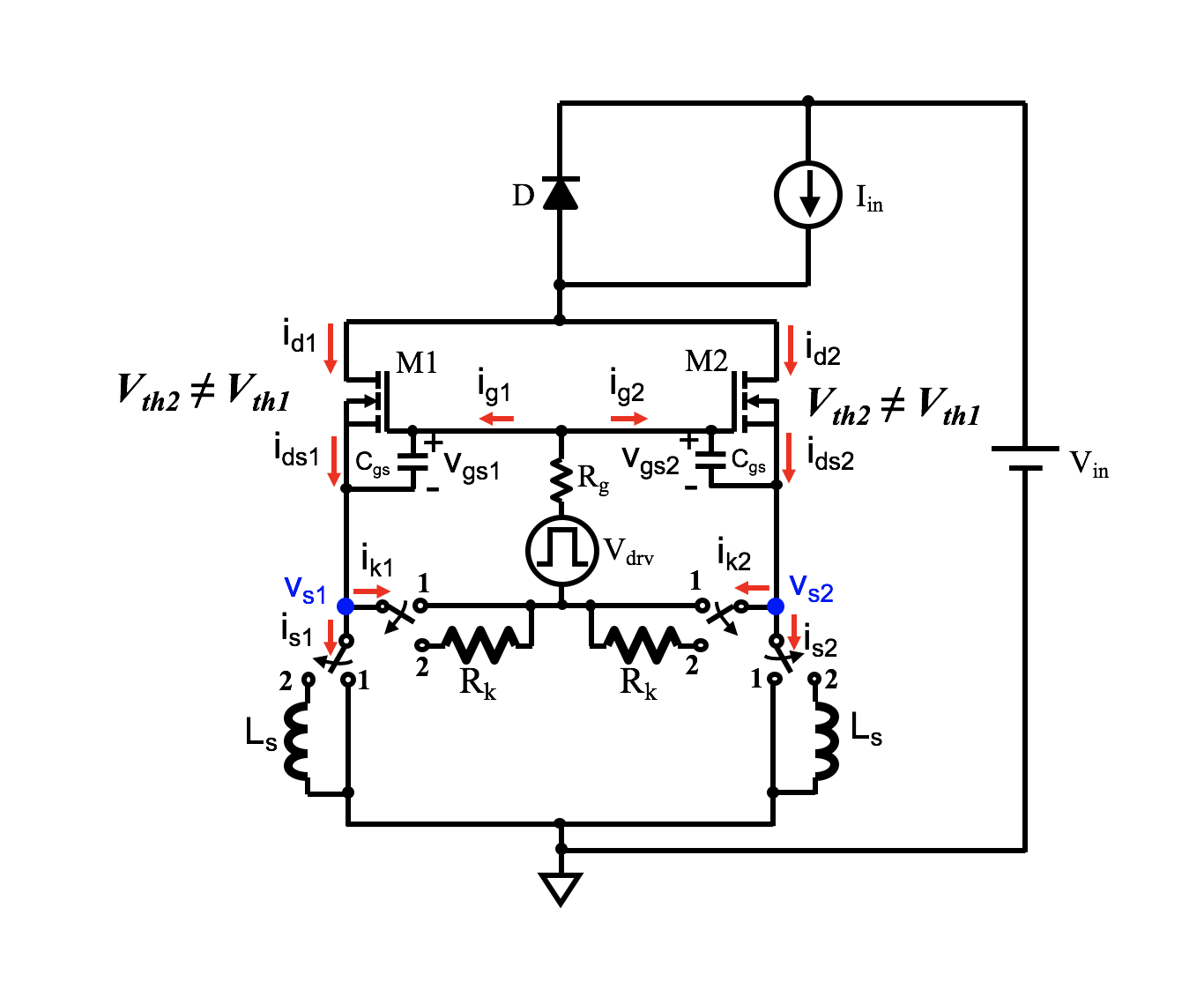 Circuit diagram indicating how different resistance and inductances influence parallel mosfet performance