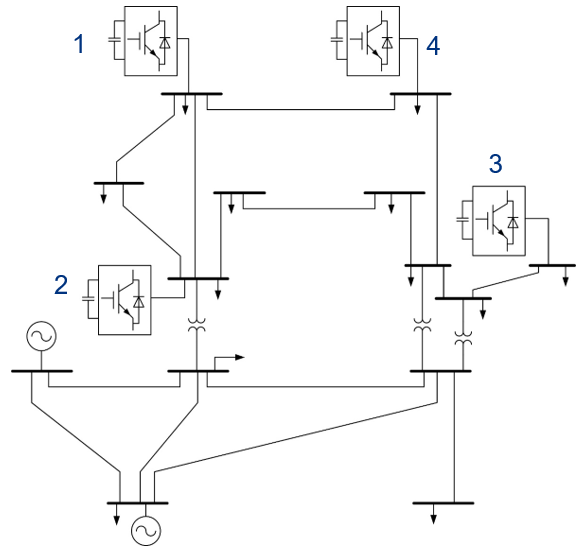 Image of IEEE 14-bus system with 4 STATCOMS