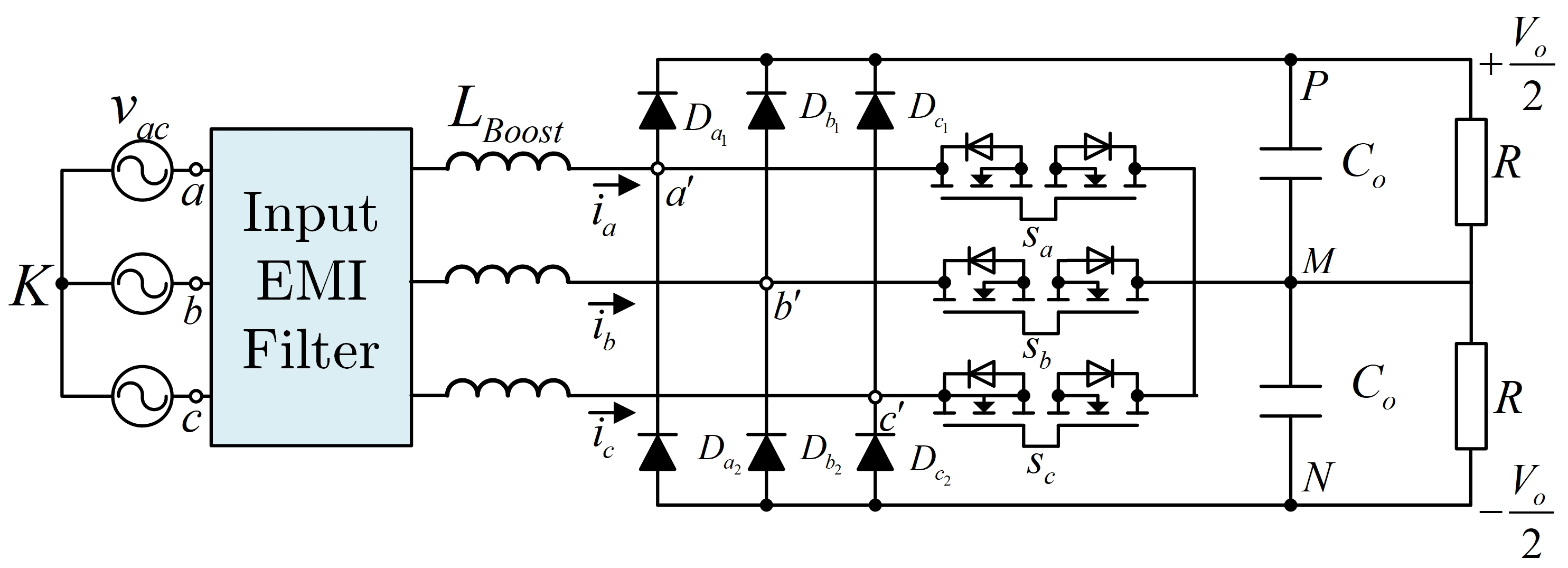 Image of Circuit schematic of a Vienna-type rectifier.