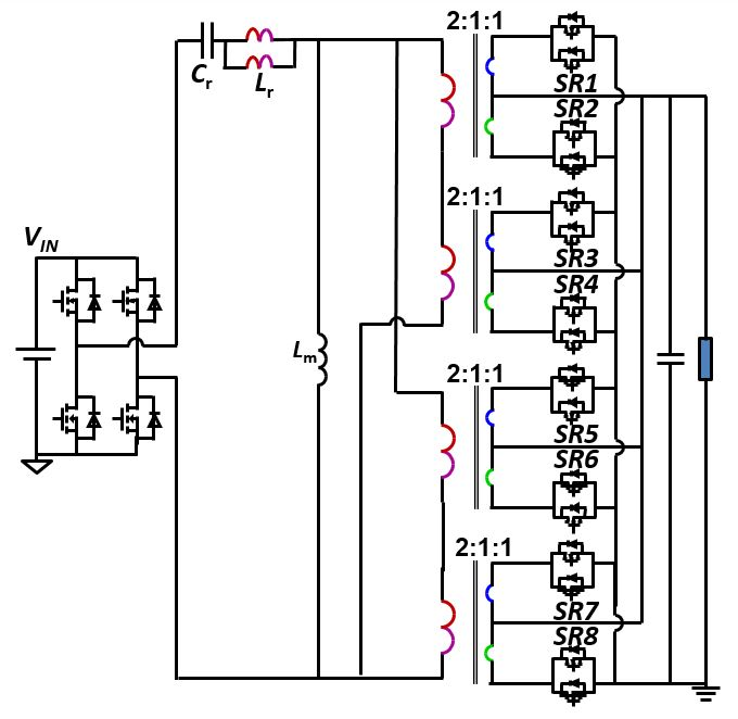 Image of Single stage LLC DC/DC converter with matrix transformer