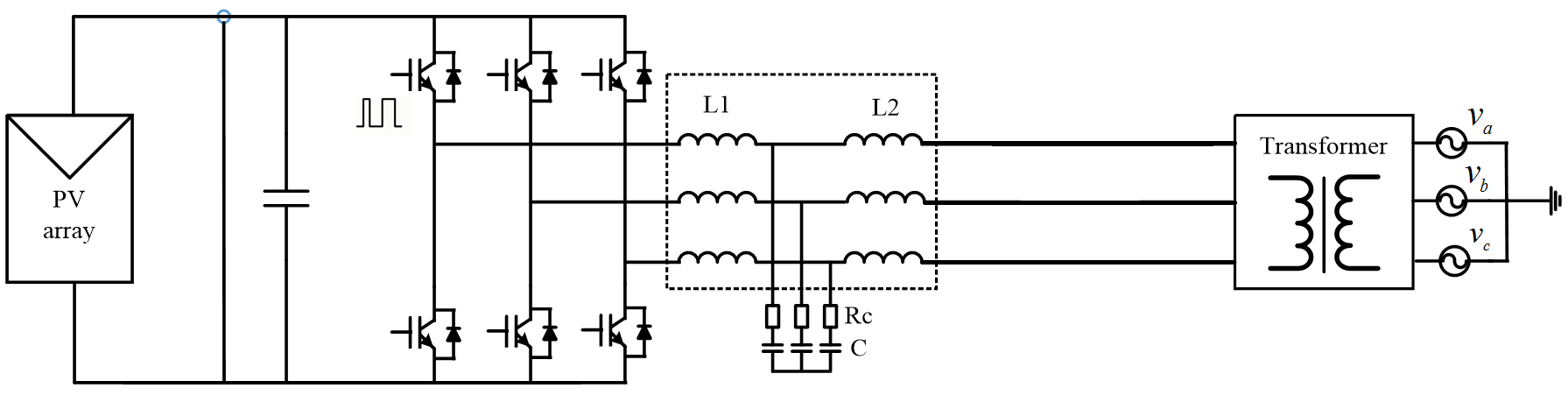 Switching model of three-phase PV inverter