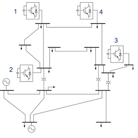 IEEE 14-bus system with four STATCOMs.