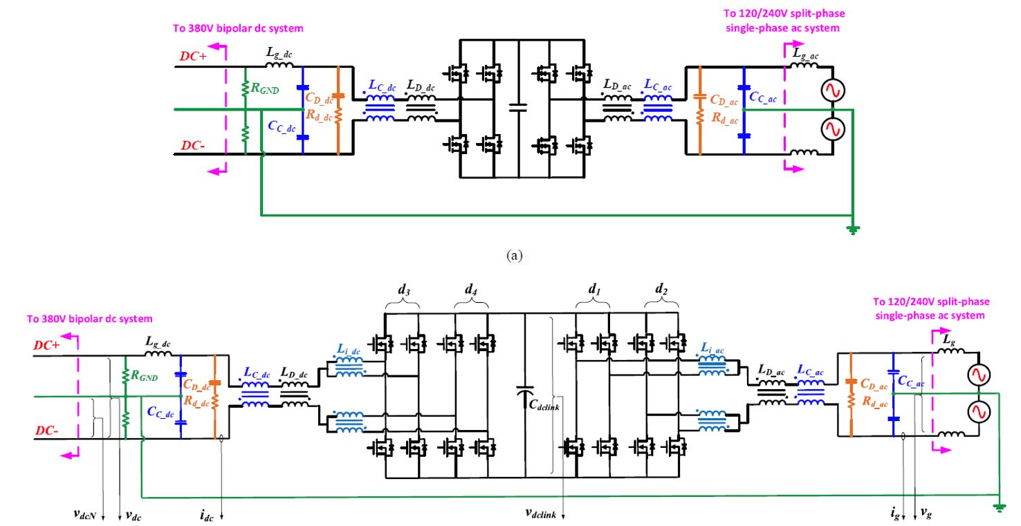 Image of two-stage bidirectional single-phase ac-dc converter with common-mode decoupling, conceptual schematic, and complete interleaved schematic.