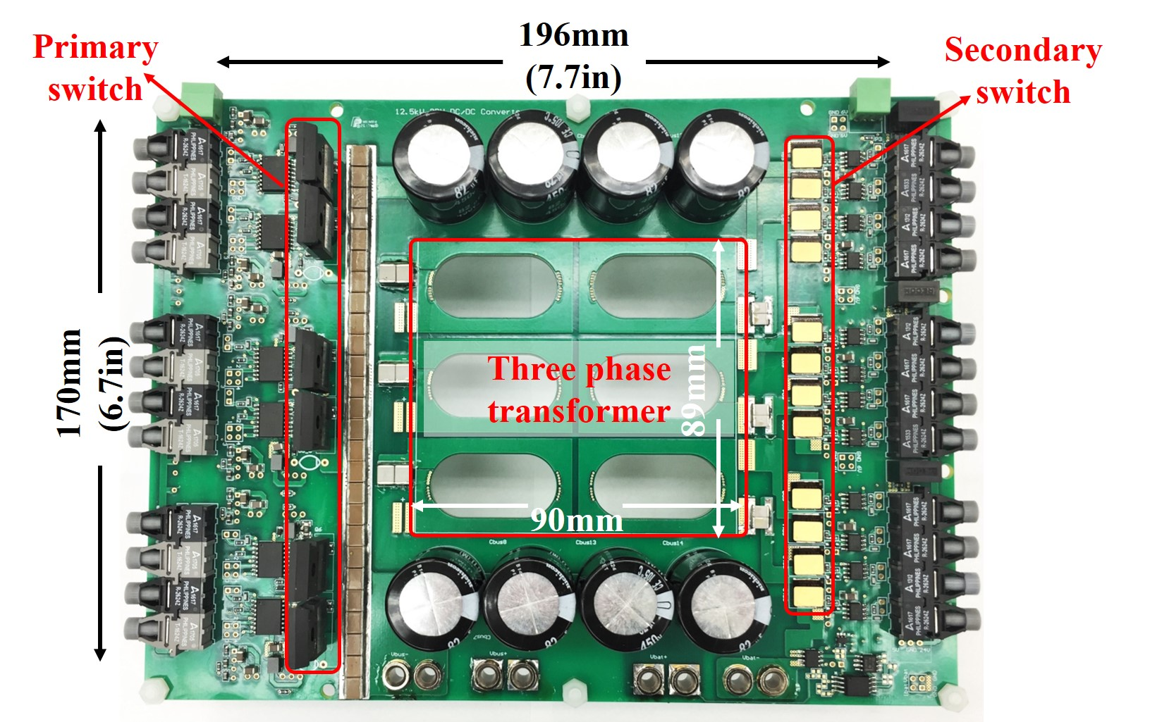 Image of three phase CLLC resonant converter with integrated magnetics.