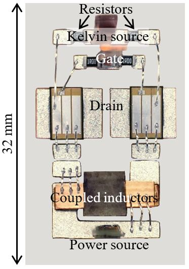 Image of fabricated magnetics-integrated SiC module.