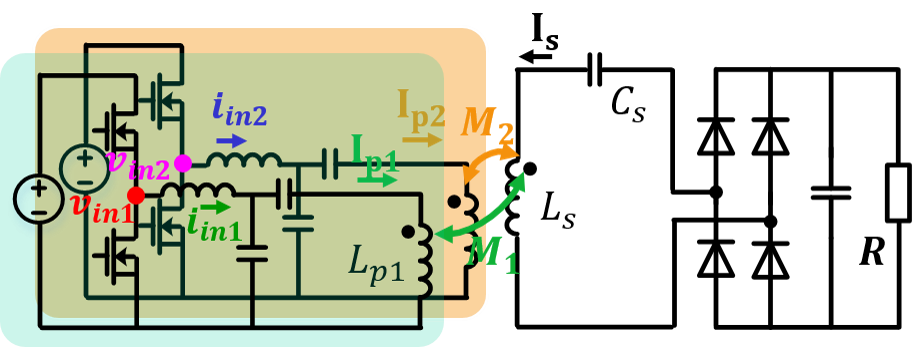 Converter schematic in two-phase operation