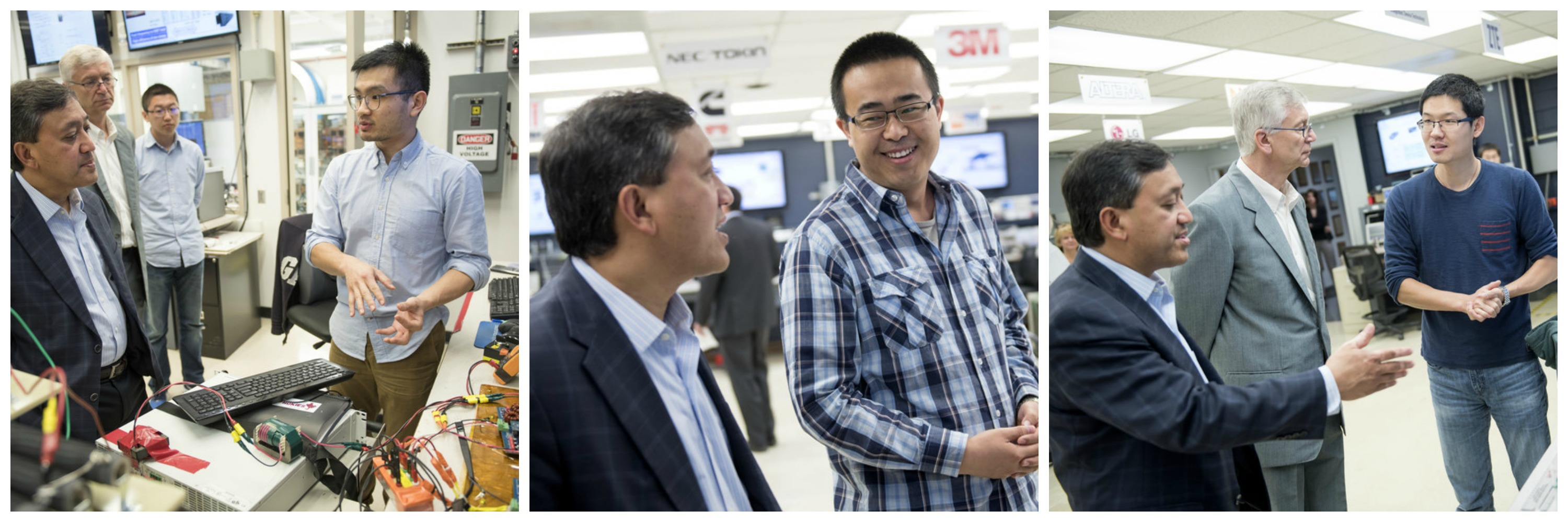 Image of David Parekh and Vlado Blasko from United Technolgies Research Center tour the CPES Lab. CPES students and scholars from left: Bo Wen, Qiong Wang, Chao Fei, and Bin Li.