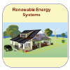Icons showing equipment used in renewable energy systems